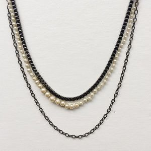 J.Crew Mixed Layering Hematite Necklace